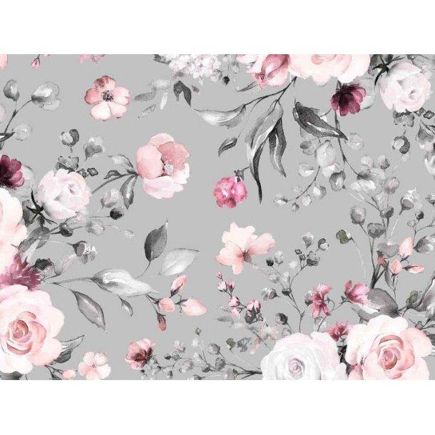 BEMÆRK 1 stk af 0,65 m Jersey digital, smukke lyserøde roser, lys grå bund