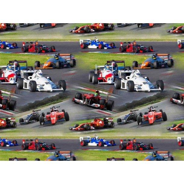 Jersey digital, racerbiler efter hinanden på banen